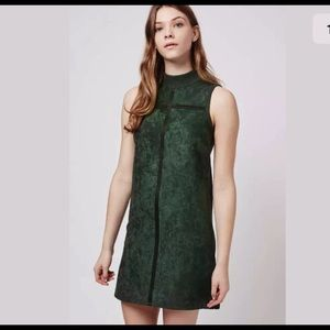 Topshop Green Suede Seam Dress Size 12 Ribbed